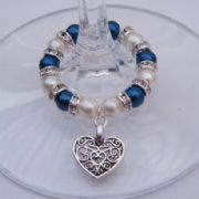 Detailed Heart Wine Glass Charm - Full Sparkle Style